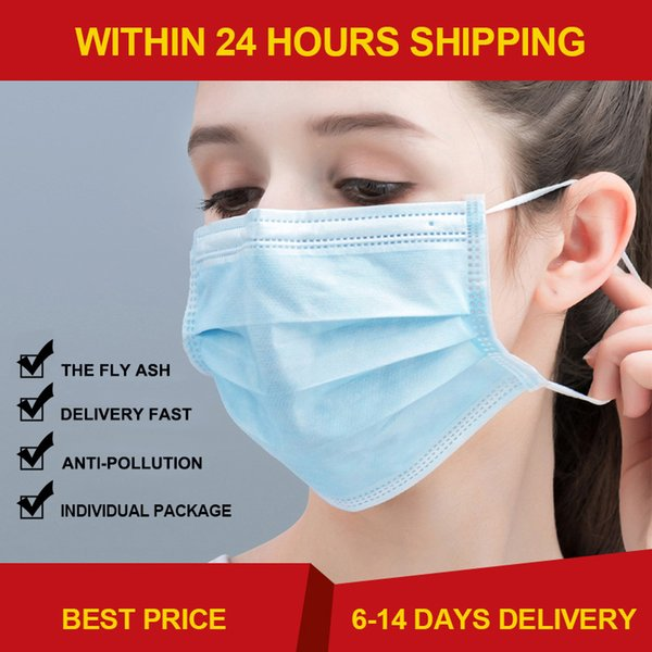 best selling Free shipping In stock!Disposable Masks Mouth Mask 3-Ply Anti-Dust Nonwoven Elastic Earloop Salon Mouth Face Masks
