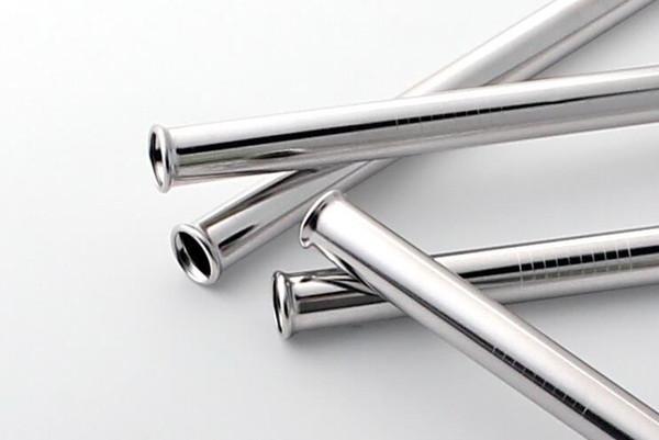 Scratch Proof dell'acciaio inossidabile di disegno Cannuccia FDA ha approvato il premio di 12,5 centimetri / 21,5 centimetri dritto partito succo Bent riutilizzabile Straws