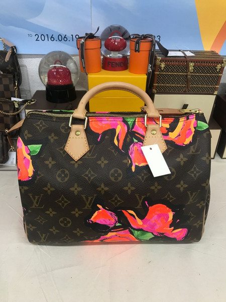 100% Genuine real Leather Women purse speedy handbag shoulder bag speedy strap designer handbags Ladies tote