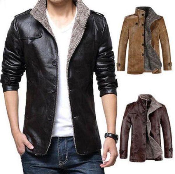 Vogue Mens Winter Jacket Leather Coat Fur Parka Fleece Slim Casual Warm Outwear