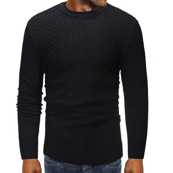 Mens Pullover Pullover 2019 Männliche Marke Casual Slim Slub Strickpullover Männer Hochwertige Einfarbig Hedging Oansatz Pullover