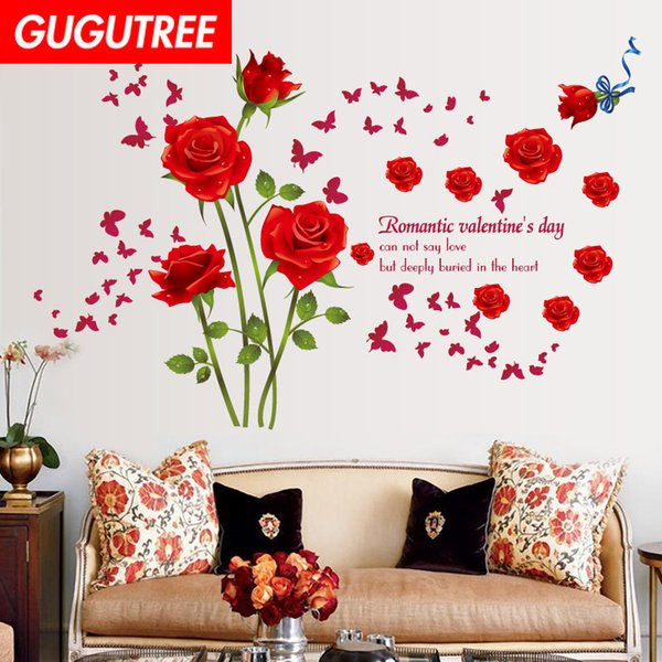 Decorate Home rose flower letter cartoon art wall sticker decoration Decals mural painting Removable Decor Wallpaper G-1657