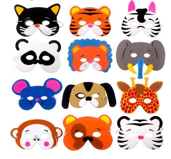 12PCS masques bricolage animaux enfants Birthday Party Birthday Party Masques Décoration d'intérieur Enfants de Favors Décor Jungle Safari