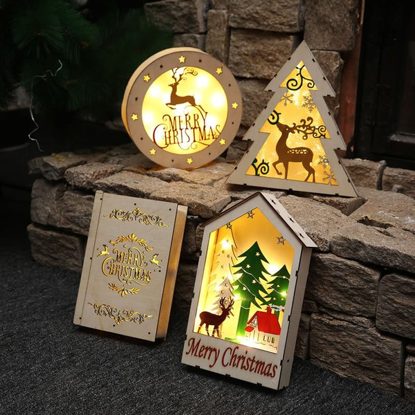 Wood Christmas Led Light Tree Pendant Drop Ornaments New Year Decorations Wooden Ornaments Tree Decoration