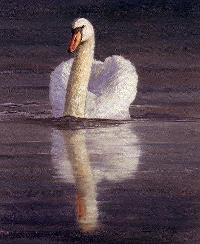 Artwork -swan- Unframed Modern Canvas Wall Art for Home and Office Decoration,Oil Painting ,Animal painatings ,frame.