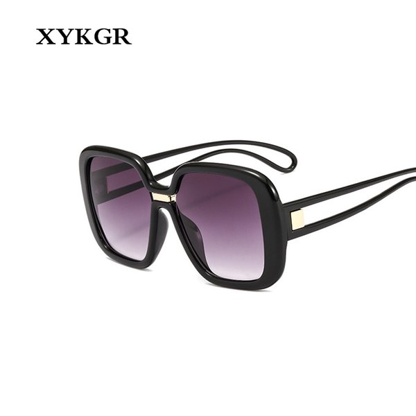 XYKGR fashion new large frame square sunglasses women's brand trend black sunglasses men and women retro gradient color glasses