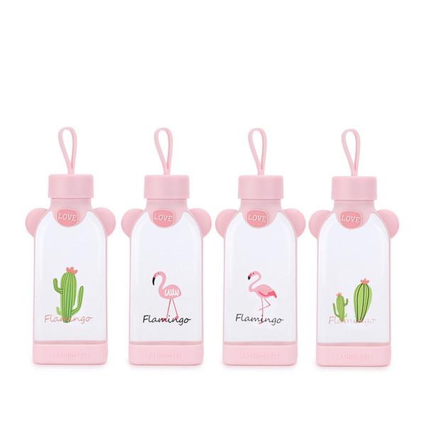 Großhandel Flamingo Square Cup Rosa Mädchen Glas Wasserflasche Originalität Versiegeln Tumbler Geschenk Leck Verhinderung Liebe Niedlich 7 Von Sd002
