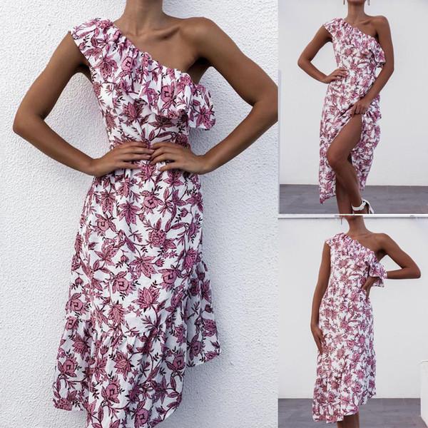Robe Femmes D'été Longue Mode Femmes Une Epaule Volants Imprimé Floral Fourche Ouverte Occasionnelle Irrégulière Robe