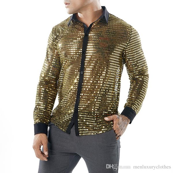 Sexy Evening Club Shirts See Through Mens Clothing Stage Playing Shirts Gold Silver Black Sequined Tops