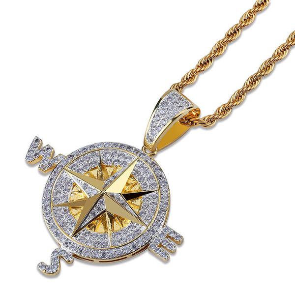 Bússola náutica pingente de colar para homens marca hiphop jóias de prata banhado a ouro moda feminina colares de hip hop