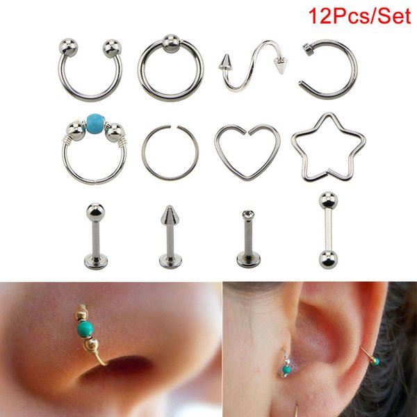 12Pcs Different Style Nose Hoop Ear Rings Set Tragus Cartilage Earrings Piercing Body Jewelry
