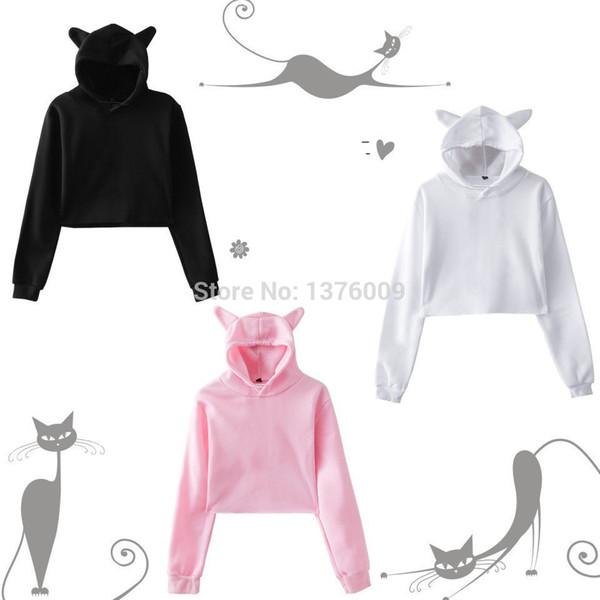 omen's clothing moletons hoodies moletom com capuz moletom com capuz tops de culturas sólidos kawaii kawaii bonito meninas harajuku pullover dança ani ...