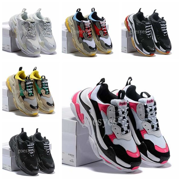 2019 novo Run Shoes Paris 17 W Triplo-S Sneaker Triplo S Casuais Luxo Pai Sapatos para Mulheres Dos Homens Branco Preto Sports Tennis Running Shoe