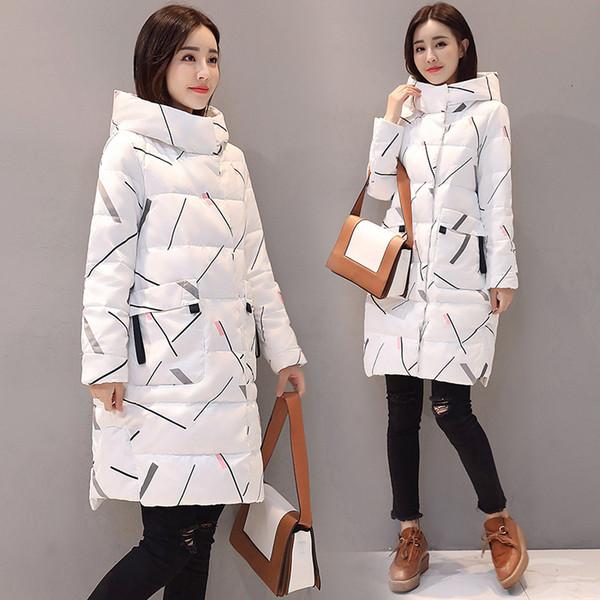 2019 chaud hiver veste femme élégante à manches longues Zipper Parkas longues vers le bas Mode Femmes Veste à capuche longues femmes Coat de T191210