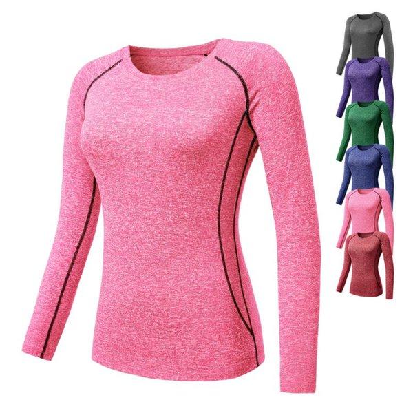Hot Women Compression T-shirts (manches longues) Collants (manches longues) Base thermique Couche Tops T-shirt de yoga à séchage rapide et à séchage rapide