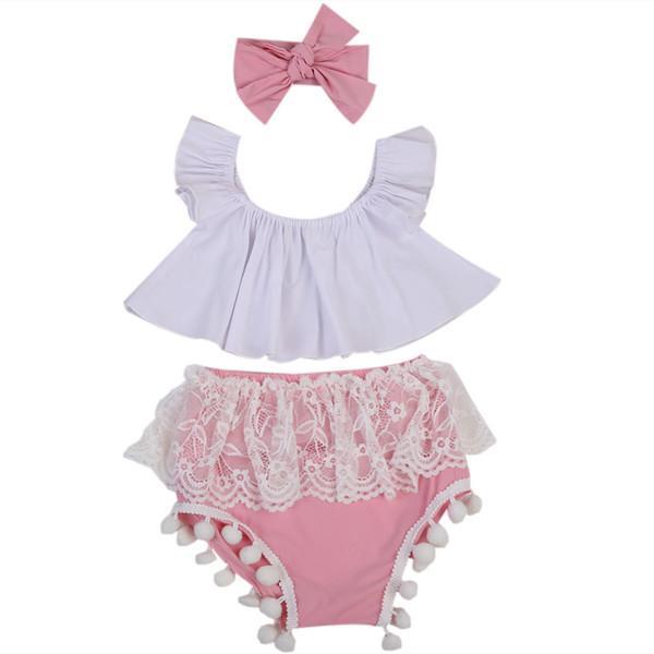 3 STÜCKE Nette Neugeborene Babykleidung Set 2017 Sommer Rüschen Weiß Crop Tops Shirt + Spitze Quaste Bloomers Kurze Stirnband Outfits Y190515