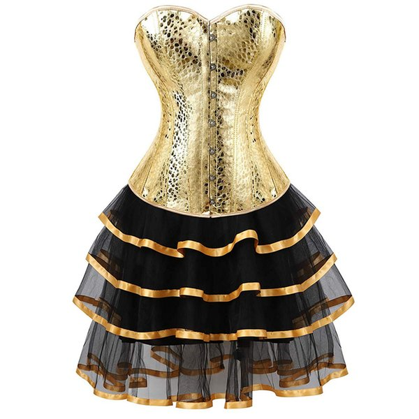 leather corset bustiers skirts dresses tutu burlesque plus size sexy corselet overbust costume cosplay gothic gold with bling