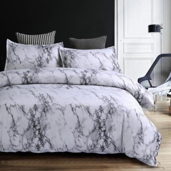 Moderne Marmor Gedruckt Bettwäsche Set Königin Größe 2 stücke / 3 stücke Bettbezug Set Bettwäsche Bettbezug