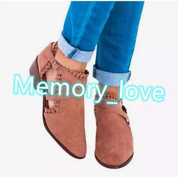 Stivali da donna scolpiti Vendita calda Ladies Gladiator Short Boots Tacco basso spesso con stivaletti con fibbie intagliate Scarpe da donna Large Size