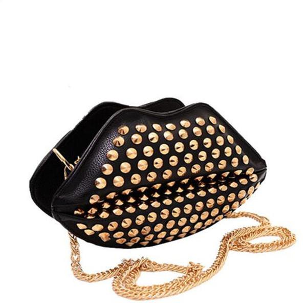 Europe Style Kiss Lip Full Rivet Clutch Purse Handbags Leather Lips Rivets Chain Shoulder Messenger Bag Girls Funny Bag