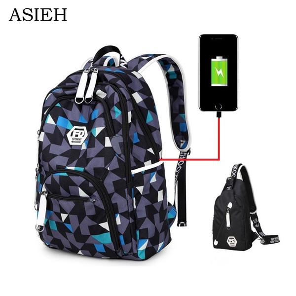 College Student USB Laptop school bag Oxford cloth men's backpack School Bags for Teenagers backpack boys schulranzen