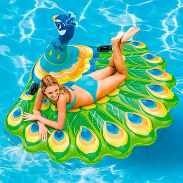 Natação barco flutuante animais ar flutuante barco inflável pavão colchão piscina ao ar livre piscina pavão ilha jangada brinquedo ZZA466