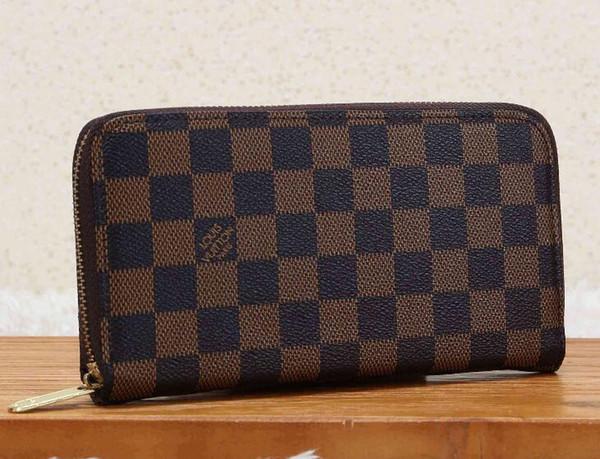 Whole ale brand de igner zipper de igner men women leather wallet lady ladie long pur e with xxl 13 loui vuitton