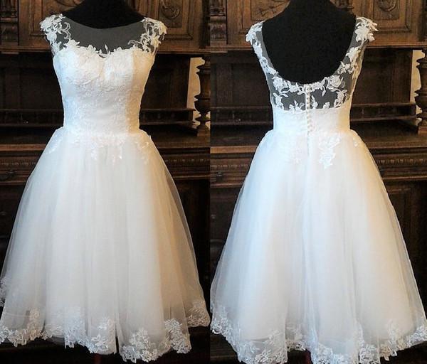 Vintage inspirado chá vestido de noiva de comprimento com decote do laço espartilho ilusão, saia de tule, estilo de vestido de noiva do laço de Audrey Hepburn