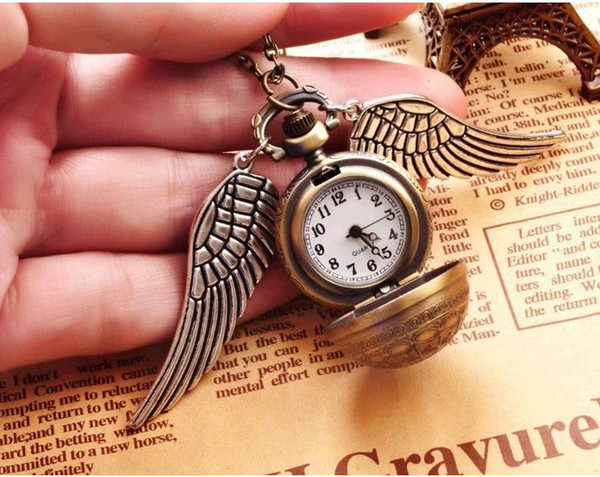 Harry Golden Snitch Pocket Watch Antique Bronze Wing Ball Pendant Necklace Chains Fashion Jewelry Fans Gift