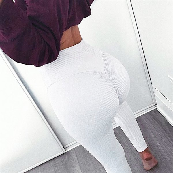 Wholesale 2019 Women's Yoga Workout Leggings Sports Sportswear Solid Color Yoga Pants White And Black Fitness Yoga Pants for Women S-XL