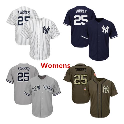 Womens New York Yankees Baseball Jerseys 25 Gleyber Torres Jersey Navy Blue White Gray Grey Green Salute Players Weekend All Star Team Logo