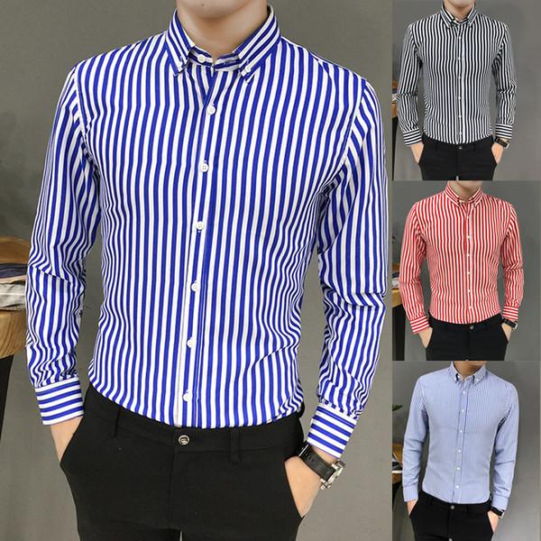 Shirt Slim Men Casual Men Shirt Summer Cotton Mens Suit Fit Long Sleeve Button Striped Down Shirts Tops BlouseW413