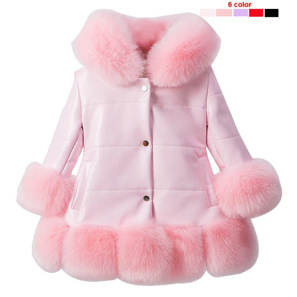 Kids girl's PU leather patchwork fox faux fur collar jacket coat down parkas thicken princess winter outerwear fur coat 7 colour CJ191205