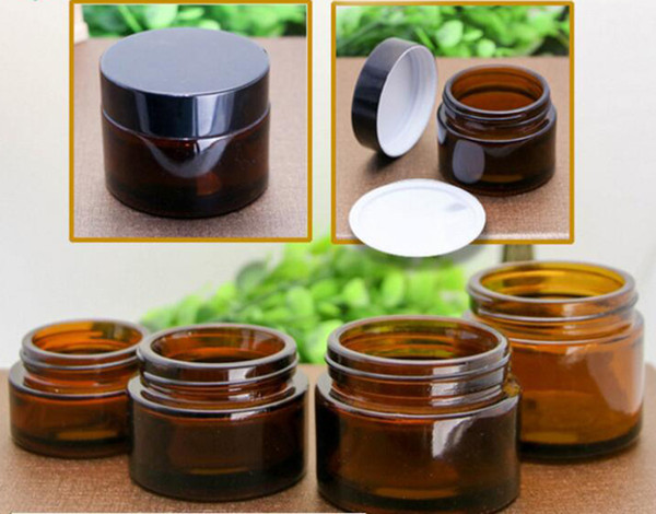 20g 30g 50g 100g gla amber facial cream jar empty kin care cream refillable bottle co metic container with black lid for travel packing