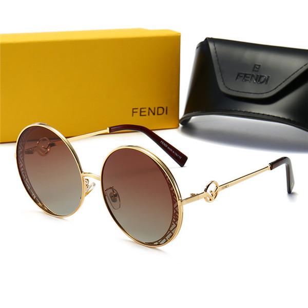Yüksek kaliteli lüks Tasarımcı boy kadın Güneş moda UV400 Polarize kadının Gözlük metal yuvarlak Güneş Gözlüğü kutusu ile-13