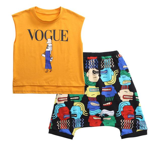 casual boys suits kids designer clothes boys beach suits letter Vest+Harem Pants kids sets boys designer clothes A7479