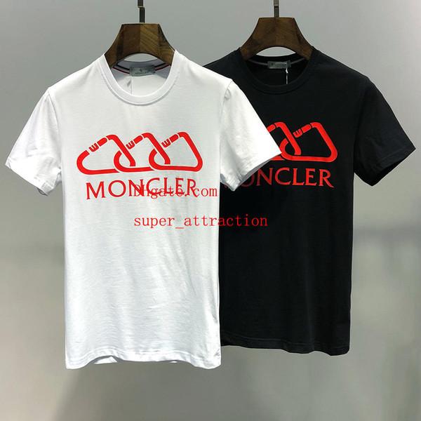 2019 модные мужские футболки с надписью из хлопка с коротким рукавом Футболки футболки homme Emboridered Crewneck Повседневные топы 2 цвета BC-3