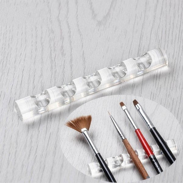 New Arrival Acrylic Display Rack for Brush Transparent Paint Pen Storage Stand Makeup Pencil Holder Racks of 5 Nail Brushes