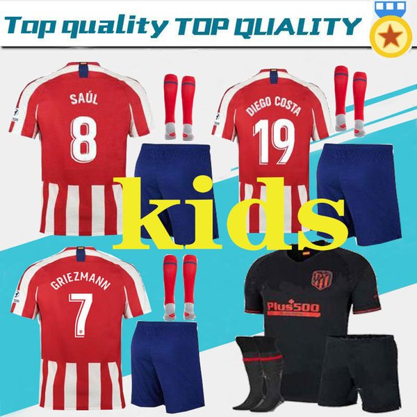 premium selection ed84d 01903 2019 2019 Atletico Madrid Kids GRIEZMANN Home Soccer Jersey KOKE MORATA  Soccer Shirt Customized SAUL DIEGO COSTA 19 20 Boy Child Football Black  From ...