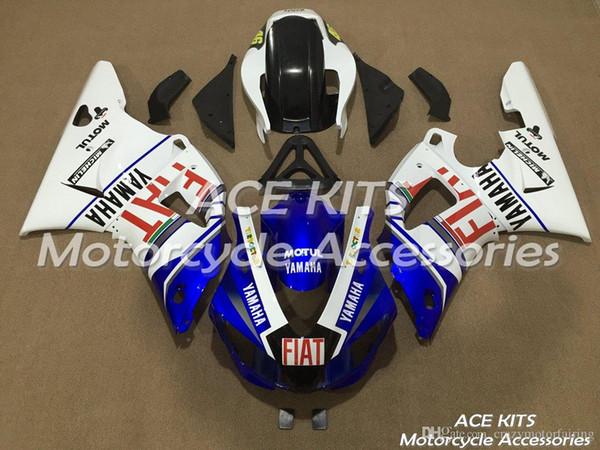 Crazy no.1 ACE KITS Carenado de motocicleta para YAMAHA YZF R1 1998-1999 Inyección o compresión Carrocería sensacional azul blanco + TANQUE NO.2002