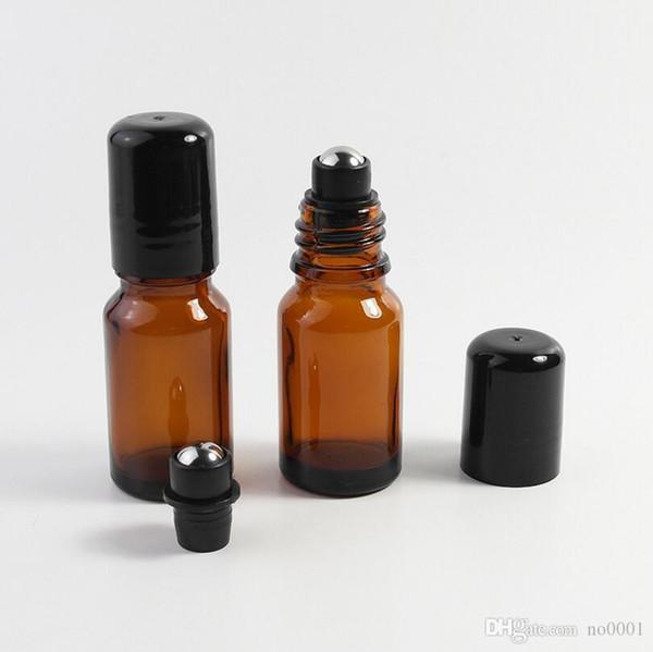 200pcs / lot recarregáveis 5ml Grosso Âmbar / 10ML Mini Roll On Frascos de vidro óleo essencial com bola de rolo de aço do metal