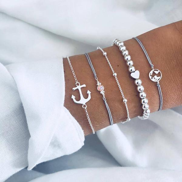 5pcs / set vintage anchor opali perline cuore braccialetto set Boho perline bracciale donna signora ornamento accessori