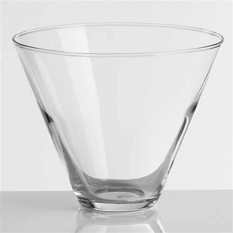 wholesale custom logo and package hand blown clear 380ml cocktail glass transparent Stemless Martini Glasses cup
