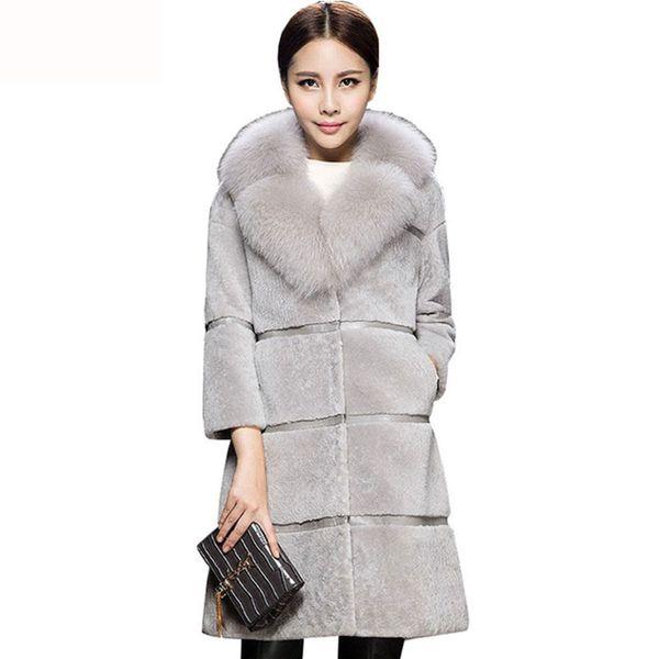 Sheep Sheared Coat Winter Women Medium Long Fur Jacket 2018 Mother Loaded Imitation Fox Fur One Large size coat Female HS389
