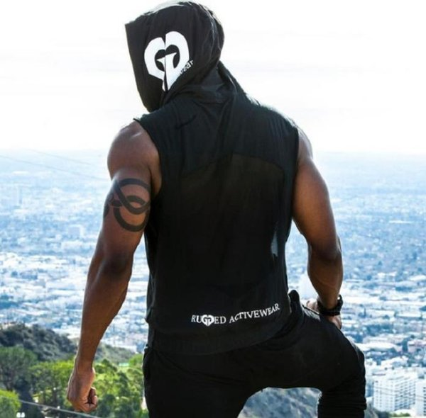 Patlayıcı eğilim Hoodie GYM Kolsuz Spor yelek Spor Koşu Erkekler için Kolsuz Tişört Hava Geçirgenliği Eğitim Takım Elbise