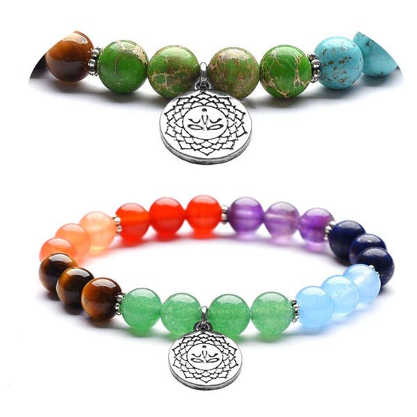 2 Estilos 7 Chakra Pulseira Colorida Para As Mulheres Lótus Pingente de Contas de Yoga Bangle Pedra Natural Budista Mala Pulseira de Meditação Jóias M7F