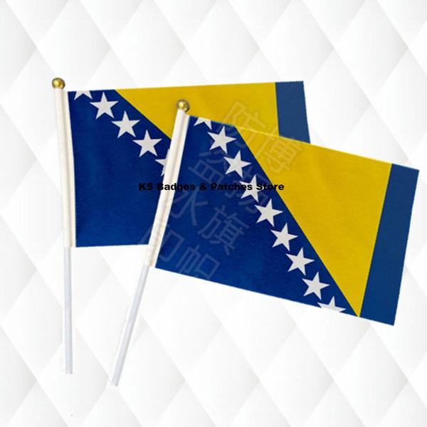 Bandierine nazionali 14 * 21CM 10pcs della mano della palla di sicurezza delle bandiere del bastone del bastone della mano tenuto in mano un lotto