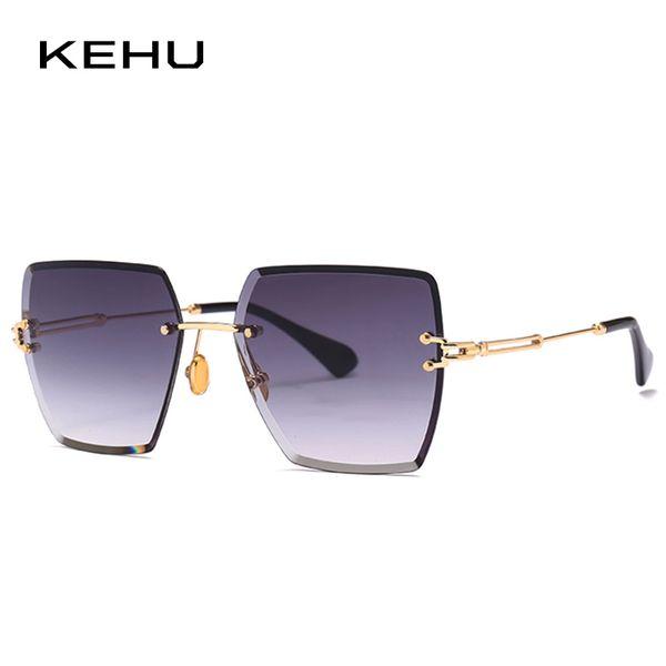 wholesale Fashion Square Sunglasses Women New Style Color Gradient Lens Brand Designer Fashion Rimless Sun Glasses UV400 K10005