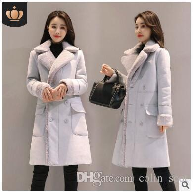 2018 Full Solid Sale New Winter Coat Bayan Kaban Winter Jacket Women Long Double Breasted Deerskin Lamb Wool Coat Windbreaker