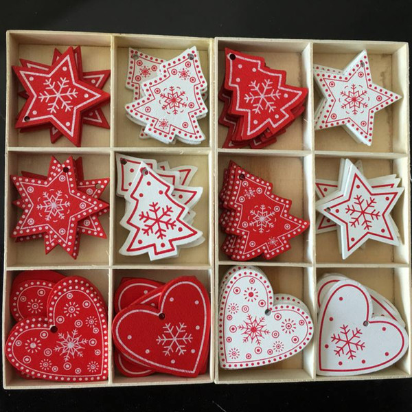 10pcs Red Christmas Wooden Gifts Love Heart Star Tree Hanging Signs Christmas Tree Hanging Decor Xmas Home Bar Shop Decor